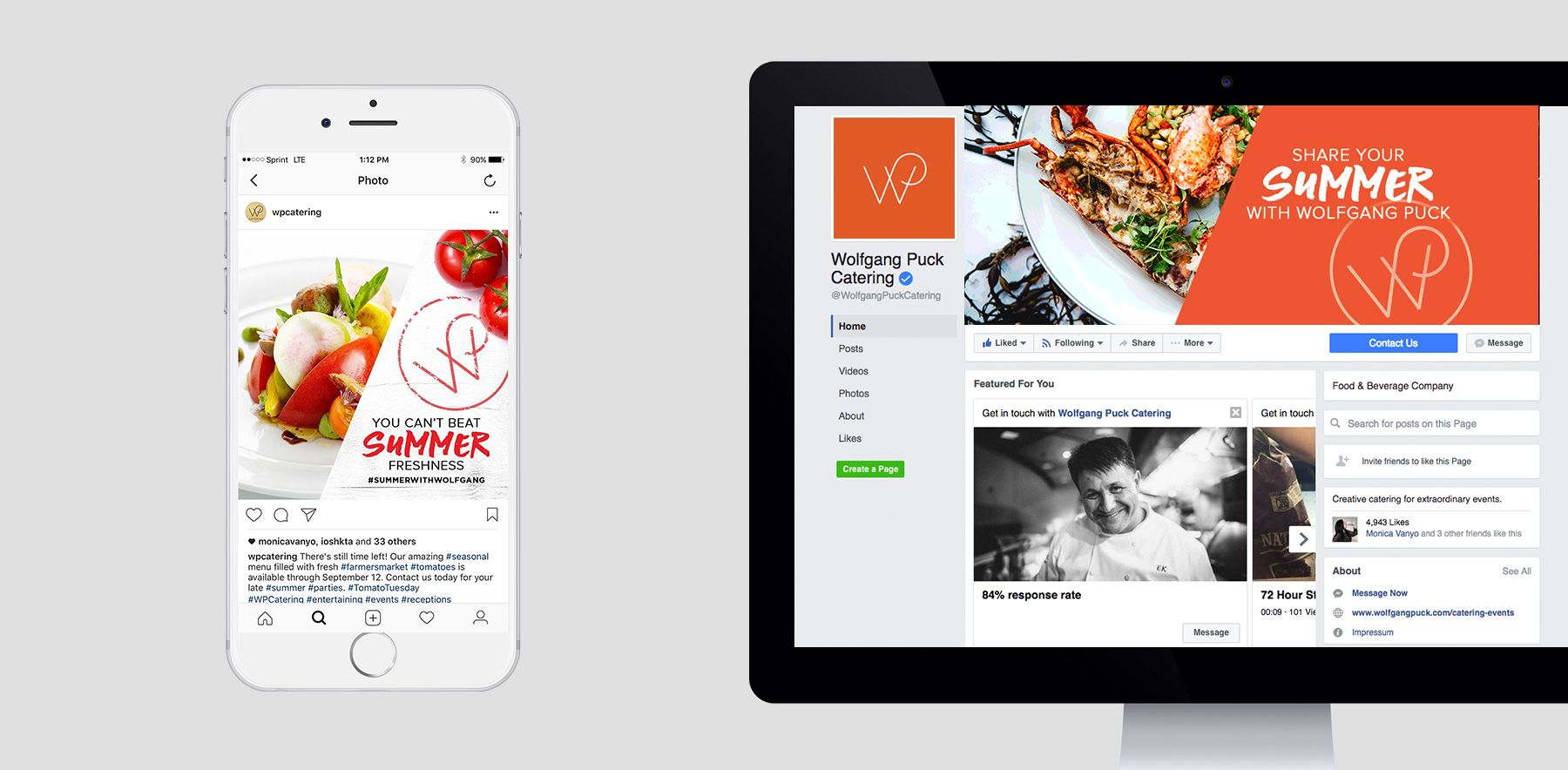 Mobile and desktop view of Wolfgang Puck social media